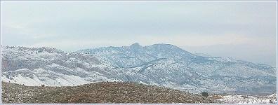 La Sierra de Ricote nevada el 29 de Enero de 2006, panorámica desde la C-415 a la altura del Embalse de la Cierva
