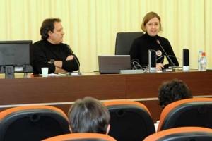 Paca and Salvador during the presentation