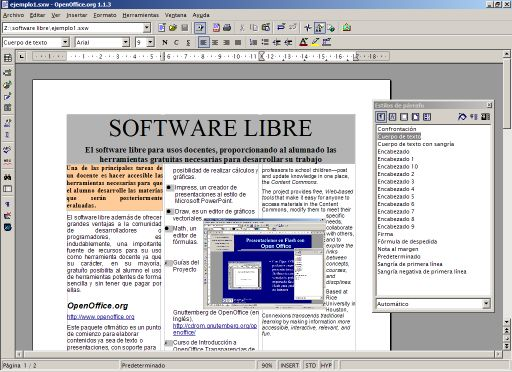 OpenOffice editando un documento