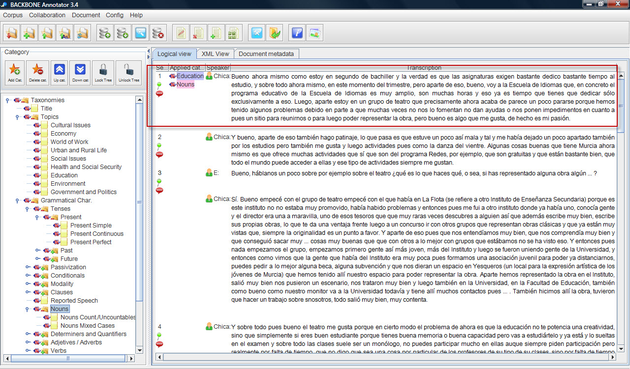 To Annotate The Text, Drag A Category Fron The Tanonomy Tree On The Left  And Then Drop It On The Corresponding Section