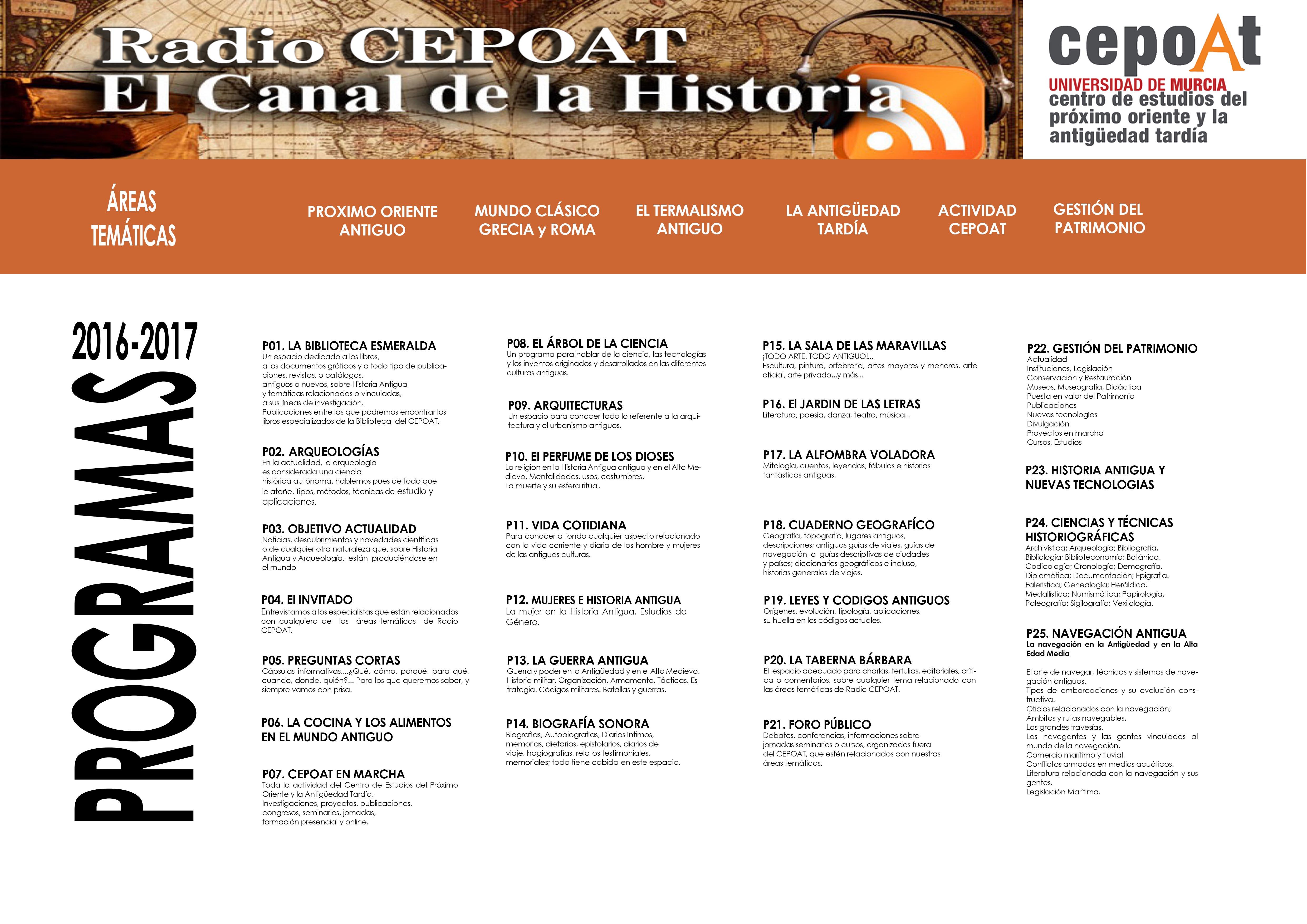 Parrilla de Programas 2016-2017. Radio CEPOAT: El Canal de la Historia.