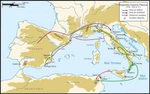 Mapa de las campañas de Aníbal y de Escipión
