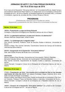 Programa de las Jornadas sobre Arte y Cultura Persas en Murcia. Del 10 al 25 de mayo de 2016.