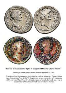 Monedas con las efigies de Cleopatra VII Filopator y Marco Antonio, acuñadas en 32, 33 a.C