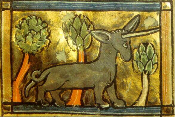 El Physiologus, bestiario medieval. Representación del unicornio.