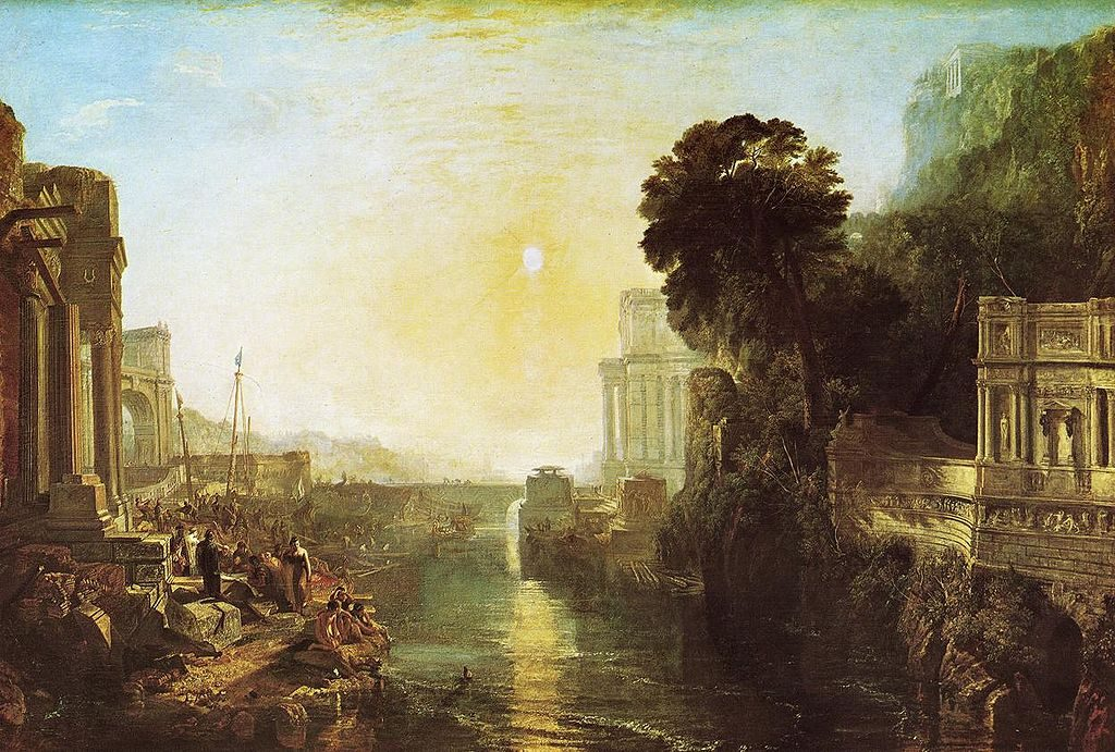"Título: ""Dido construyendo Carthago"", o ""La Subida del Imperio Cartaginés"". Autor: Joseph Mallord William Turner, 1815. Óleo sobre lienzo. The National Gallery."