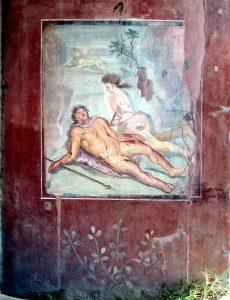 Píramo y Tisbe. Mural romano del año 79 dC. de la Casa de Loreius Tiburtinus, también conocida como Casa de Octavio Quartio en Pompeya.