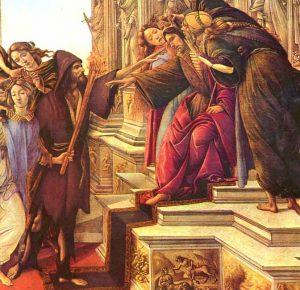 """Fragmento del cuadro """"La Calumnia de Apeles"""", una obra mitológica realizada por el pintor renacentista Sandro Boticelli. El personaje que aparece sentado quizá sea el rey Midas por las orejas de asno."""