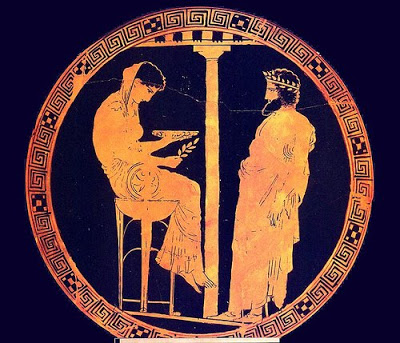 Representación griega del dios Apolo inspirando a su pitia durante el ritual