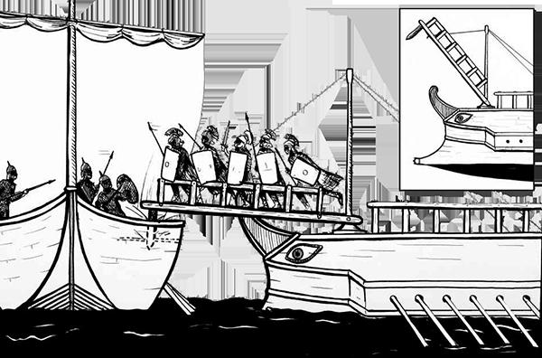 Armamento romano: Corvus o puente levadizo. Fuente de la imagen: http://bit.ly/2lrioly