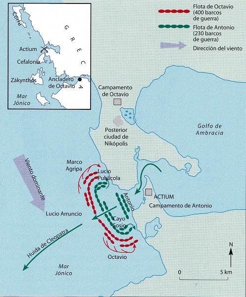 Batalla de Actium: Fuente en: http://bit.ly/2m4vhoW