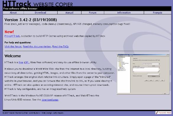 Pantalla página web httrack