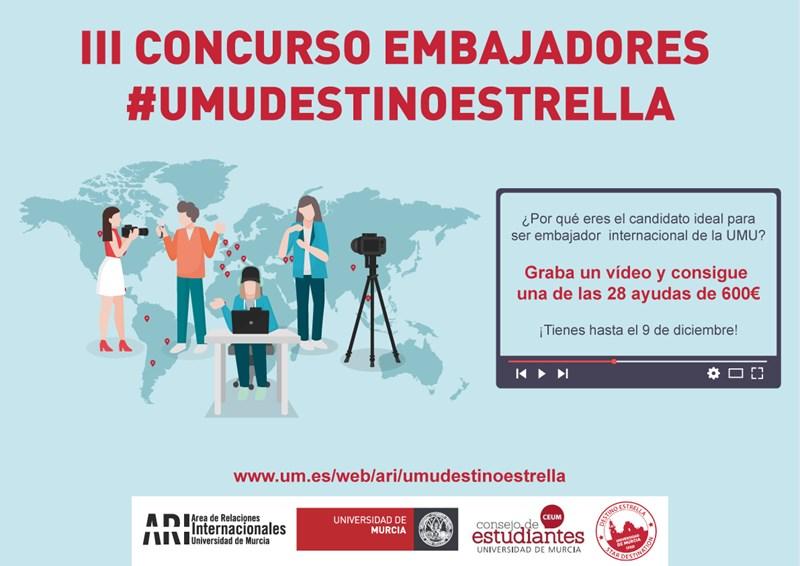 Abierta segunda fase para participar en el  III Concurso Embajadores #UMUDestinoEstrella con las ayudas vacantes - hasta 15 de diciembre