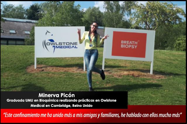 Relatos desde el confinamiento: Minerva Picón, graduada UMU en prácticas en Reino Unido