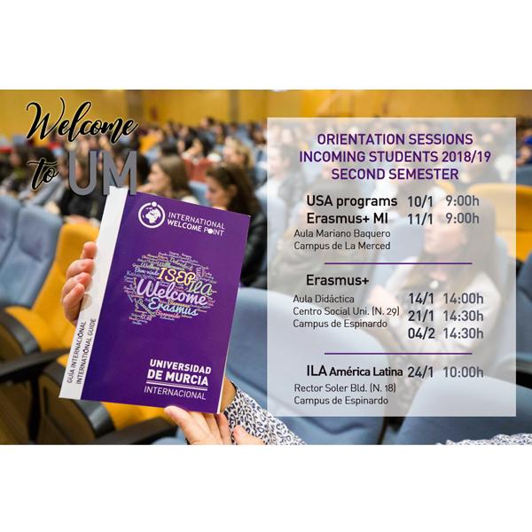 Sesiones de Orientación estudiantes internacionales del 2do cuatrimestre 2018-19