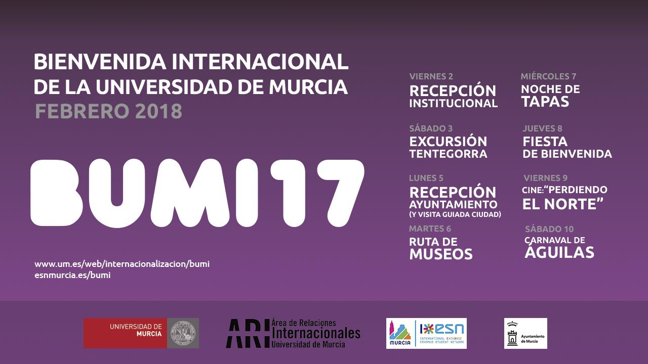 Bienvenida Universidad de Murcia Internacional 2017-18 2 Cuat