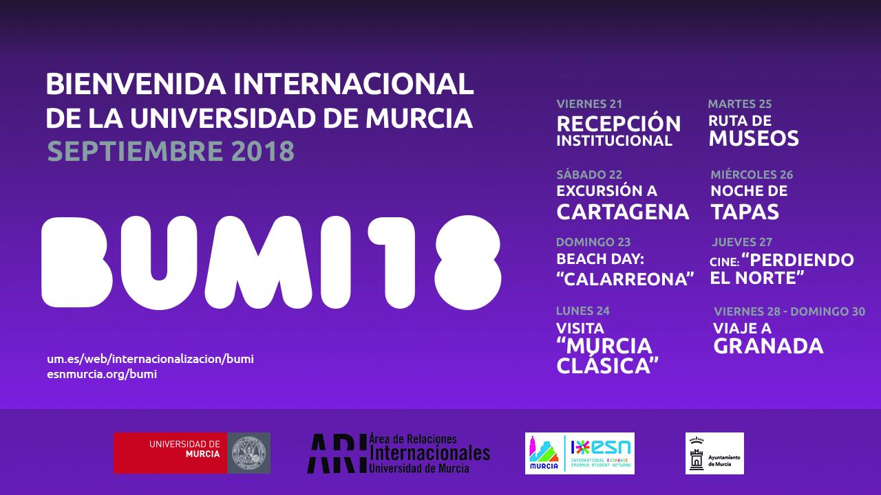 #BUMI Bienvenida Universidad de Murcia Internacional 2018-19 2o Cuatrimestre