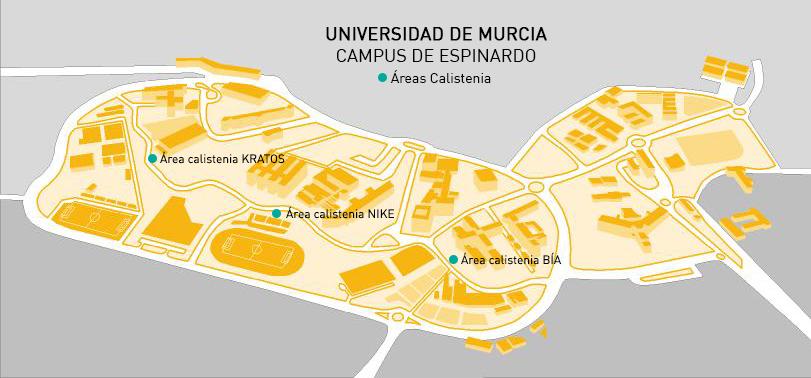 Plano Localización Áreas Calistenia en campus de Espinardo. UMU.