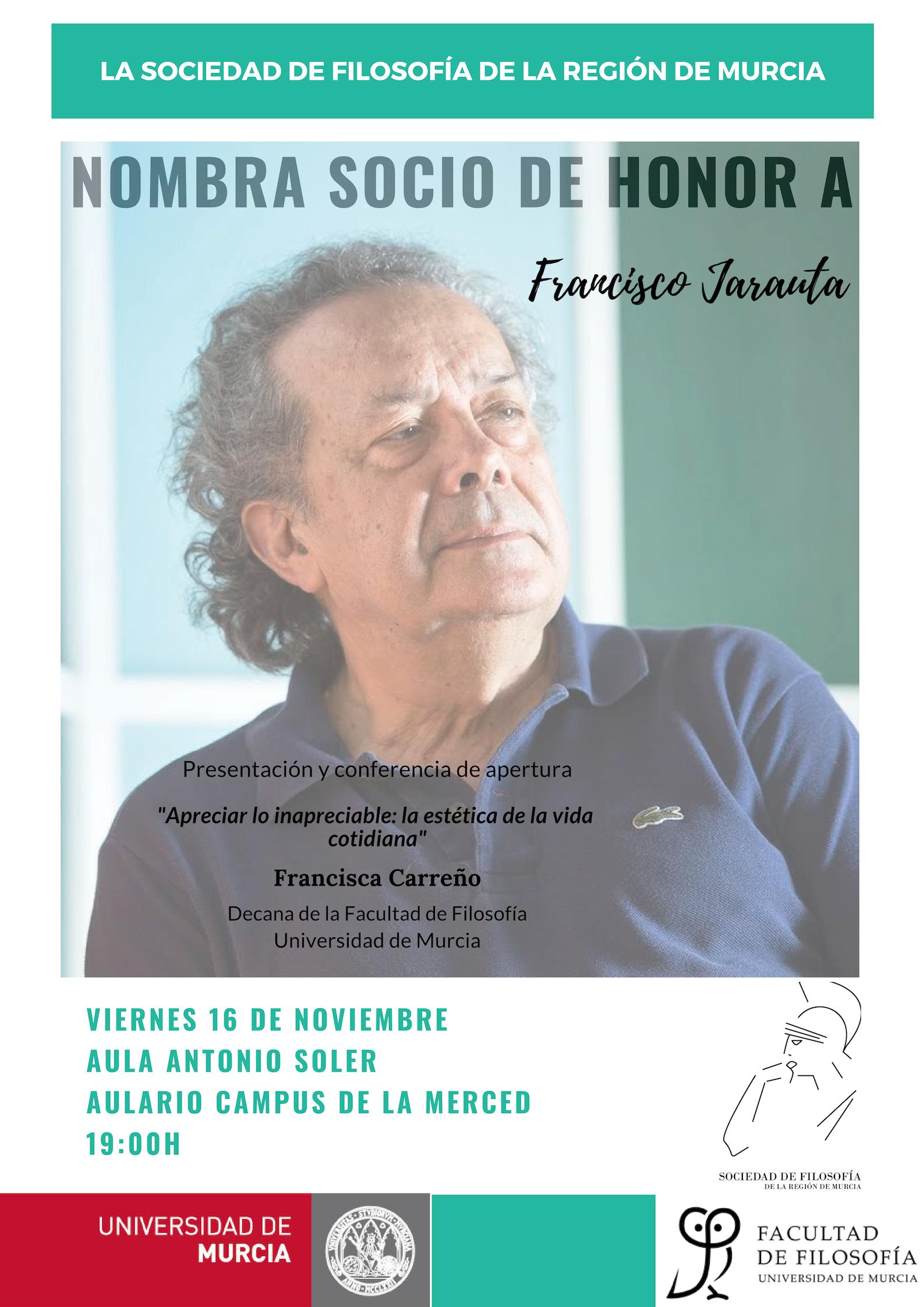Francisco Jarauta: acto de nombramiento como socio de honor de la SFRM (2018)