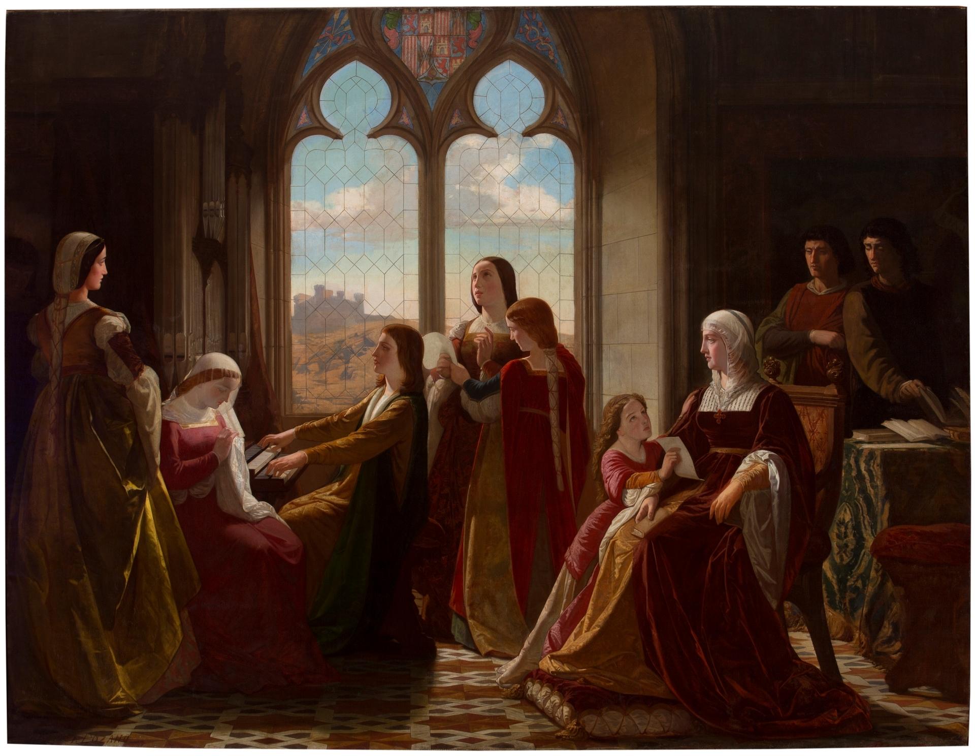 La reina Isabel la Católica, presidiendo la educación de sus hijos. Isidoro Santos Lozano Sirgos, ca. 1864.