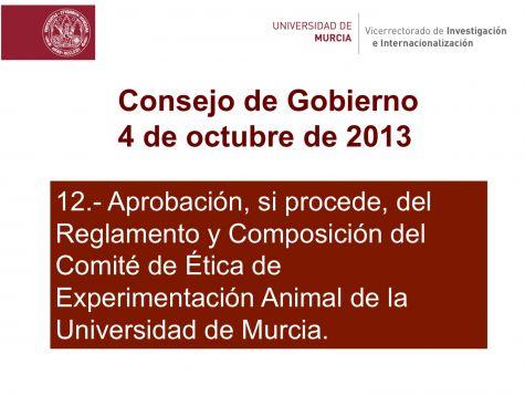 Nuevo reglamento ético de experimentación animal en la Universidad de Murcia