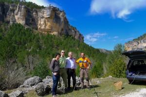 De izquierda a derecha: Rafael Fdez. Toledano (Observatorio Mantiel), Javier R. Pacheco (Univ. Alcalá), Christian Monstein (ETH Zürich) y Javier Bussons (Univ. Murcia).