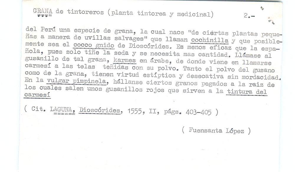 Vista ampliada de la ficha escaneada por la fundación Juan March con el texto para la entrada grana ( 2 de 28 )