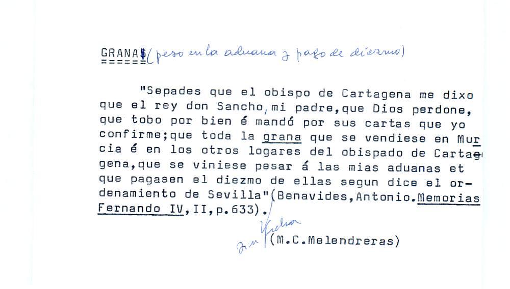 Vista ampliada de la ficha escaneada por la fundación Juan March con el texto para la entrada grana ( 3 de 28 )