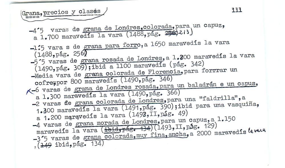 Vista ampliada de la ficha escaneada por la fundación Juan March con el texto para la entrada grana ( 7 de 28 )