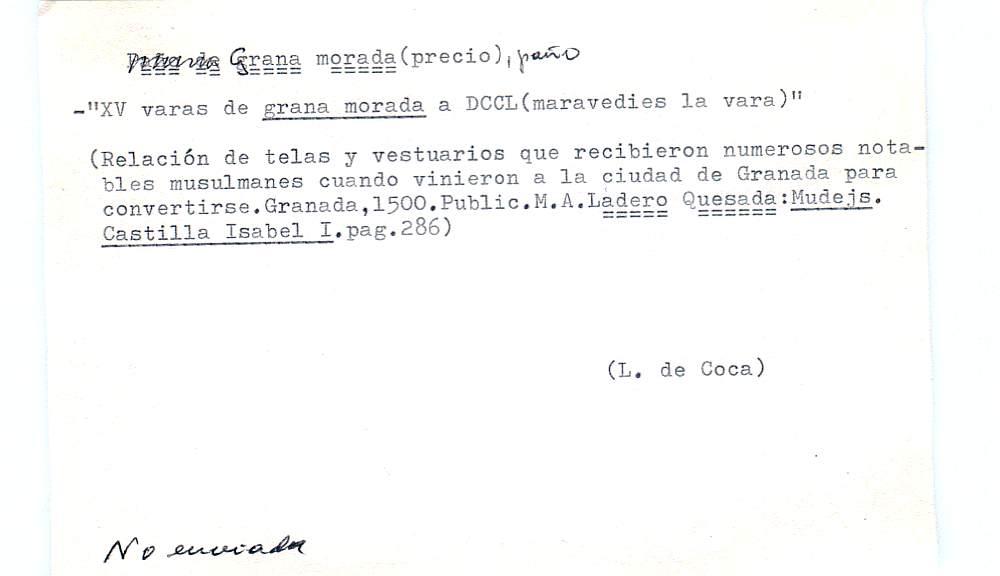 Vista ampliada de la ficha escaneada por la fundación Juan March con el texto para la entrada grana ( 10 de 28 )