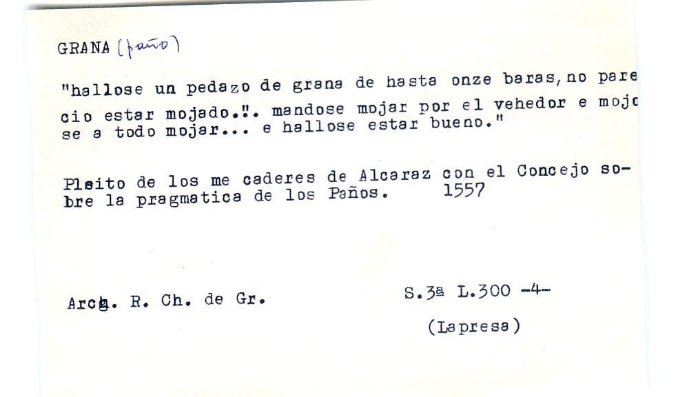 Vista ampliada de la ficha escaneada por la fundación Juan March con el texto para la entrada grana ( 11 de 28 )