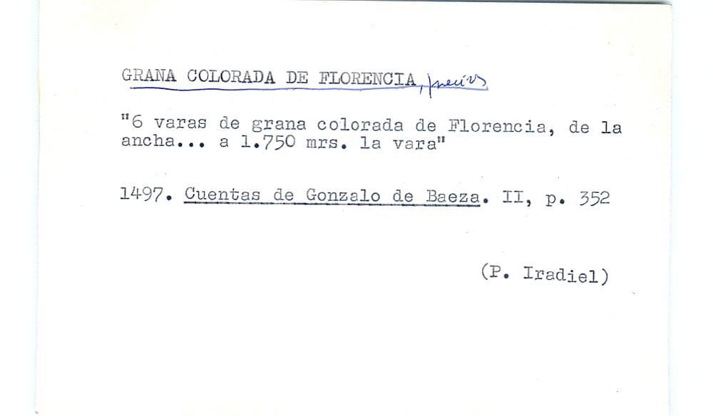 Vista ampliada de la ficha escaneada por la fundación Juan March con el texto para la entrada grana ( 12 de 28 )