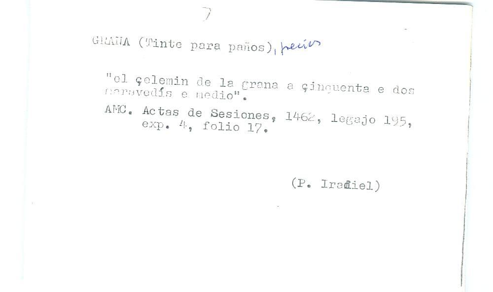Vista ampliada de la ficha escaneada por la fundación Juan March con el texto para la entrada grana ( 13 de 28 )