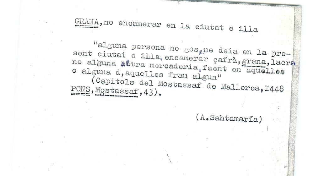 Vista ampliada de la ficha escaneada por la fundación Juan March con el texto para la entrada grana ( 15 de 28 )