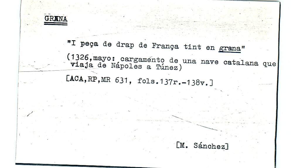 Vista ampliada de la ficha escaneada por la fundación Juan March con el texto para la entrada grana ( 16 de 28 )