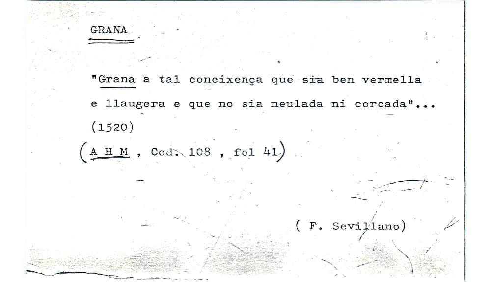 Vista ampliada de la ficha escaneada por la fundación Juan March con el texto para la entrada grana ( 17 de 28 )