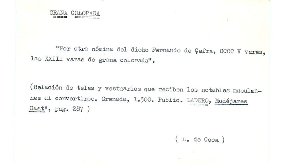 Vista ampliada de la ficha escaneada por la fundación Juan March con el texto para la entrada grana ( 19 de 28 )