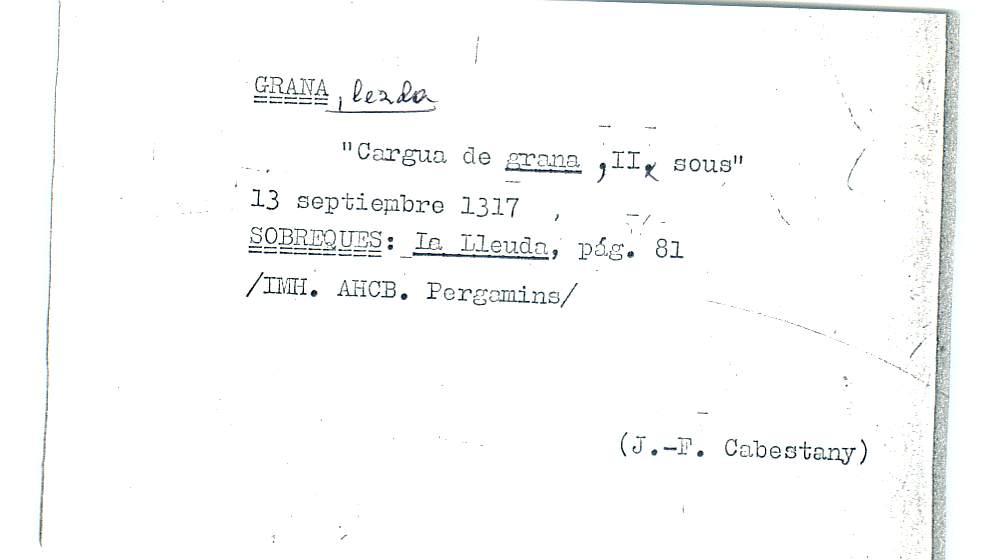 Vista ampliada de la ficha escaneada por la fundación Juan March con el texto para la entrada grana ( 20 de 28 )