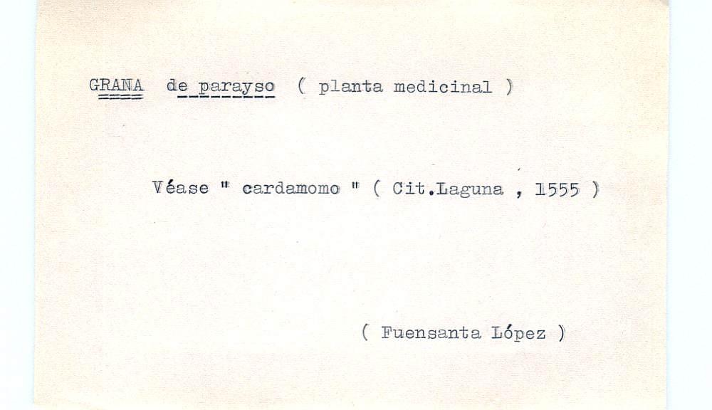 Vista ampliada de la ficha escaneada por la fundación Juan March con el texto para la entrada grana ( 22 de 28 )