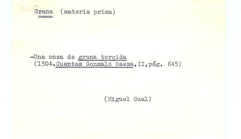 Vista ampliada de la ficha escaneada por la fundación Juan March con el texto para la entrada grana ( 28 de 28 )