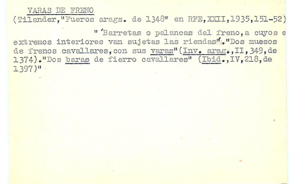 Vista ampliada de la ficha escaneada con el texto para la entrada vara ( 1 de 3 )