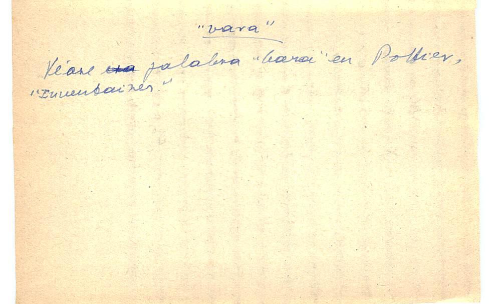Vista ampliada de la ficha escaneada con el texto para la entrada vara ( 2 de 3 )