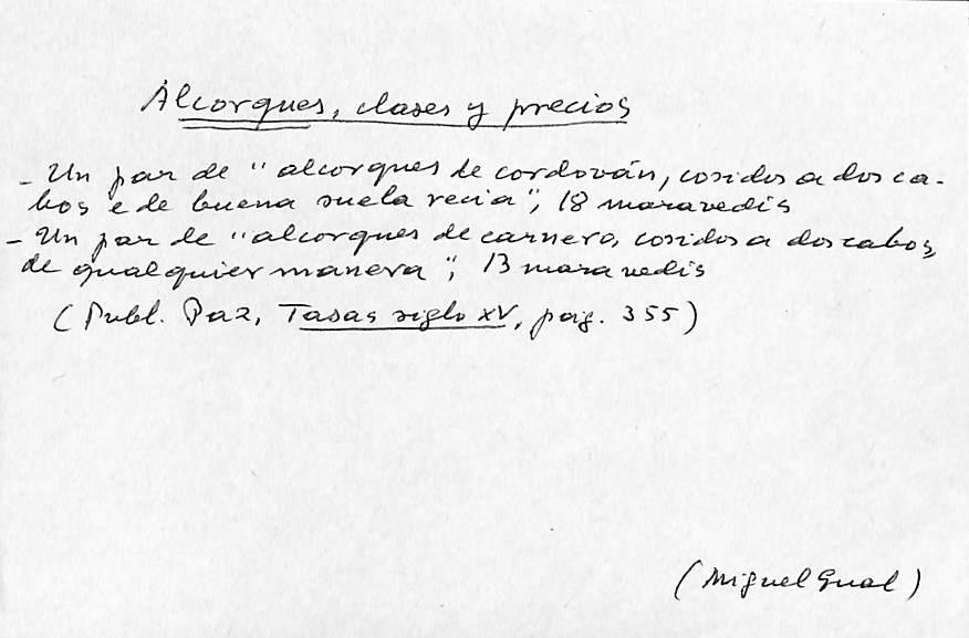 Vista ampliada de la ficha escaneada con el texto para la entrada alcorque ( 1 de 5 )