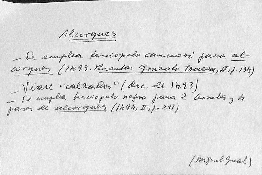 Vista ampliada de la ficha escaneada con el texto para la entrada alcorque ( 3 de 5 )
