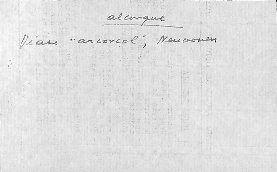 Vista ampliada de la ficha escaneada con el texto para la entrada alcorque ( 4 de 5 )