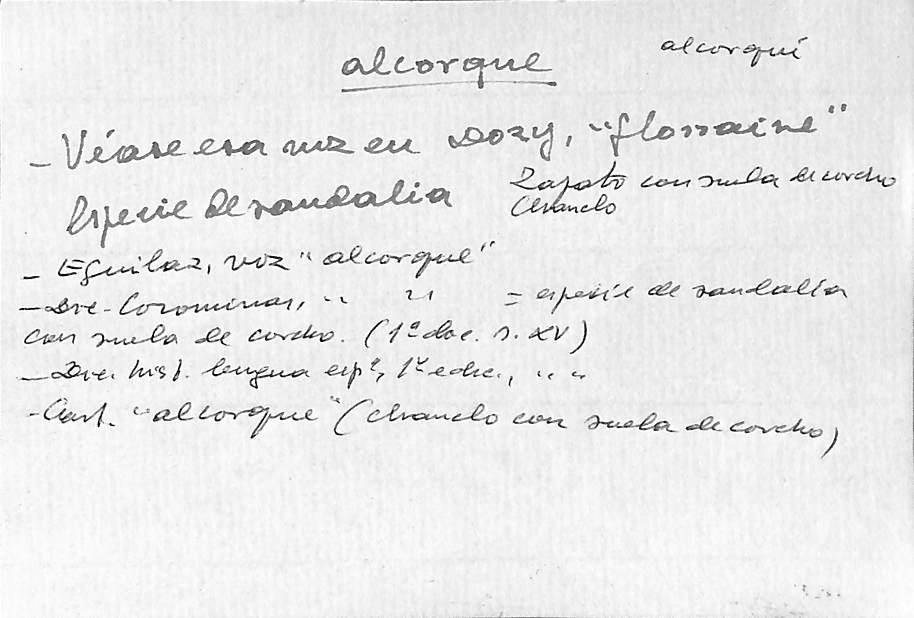 Vista ampliada de la ficha escaneada con el texto para la entrada alcorque ( 5 de 5 )
