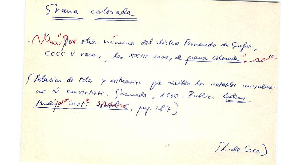 Vista ampliada de la ficha escaneada con el texto para la entrada grana ( 1 de 103 )