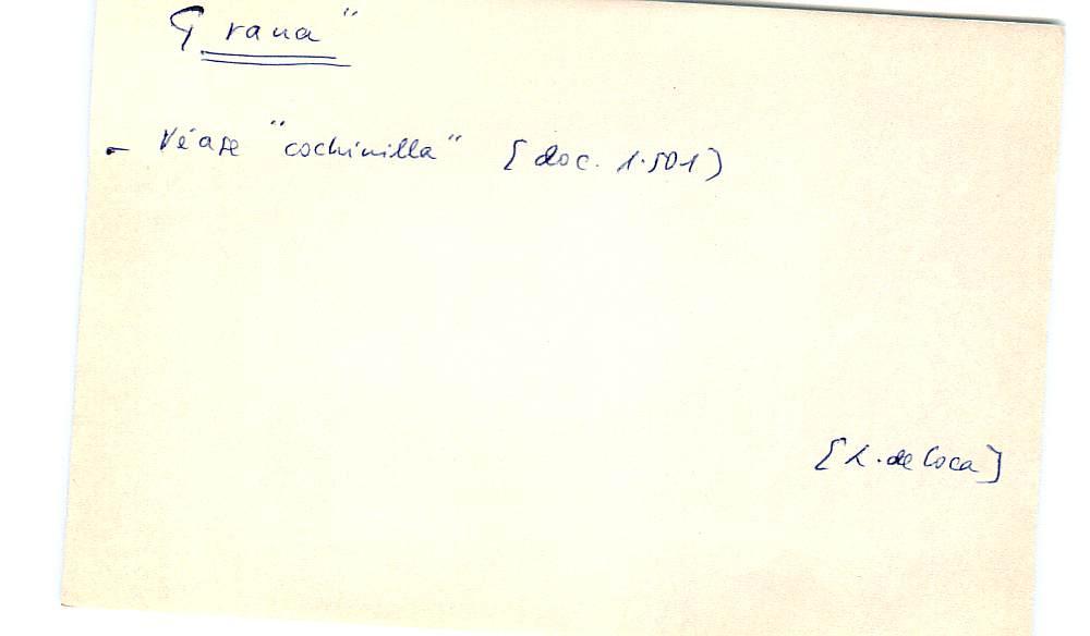 Vista ampliada de la ficha escaneada con el texto para la entrada grana ( 3 de 103 )