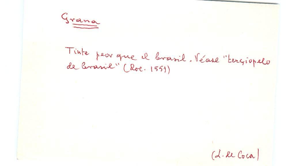 Vista ampliada de la ficha escaneada con el texto para la entrada grana ( 4 de 103 )