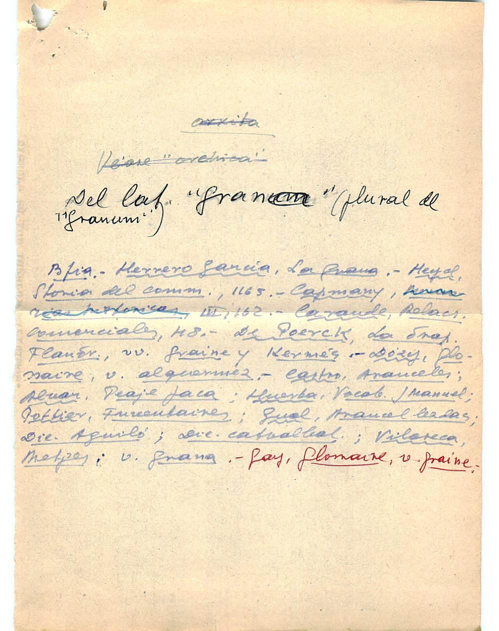 Vista ampliada de la ficha escaneada con el texto para la entrada grana ( 8 de 103 )